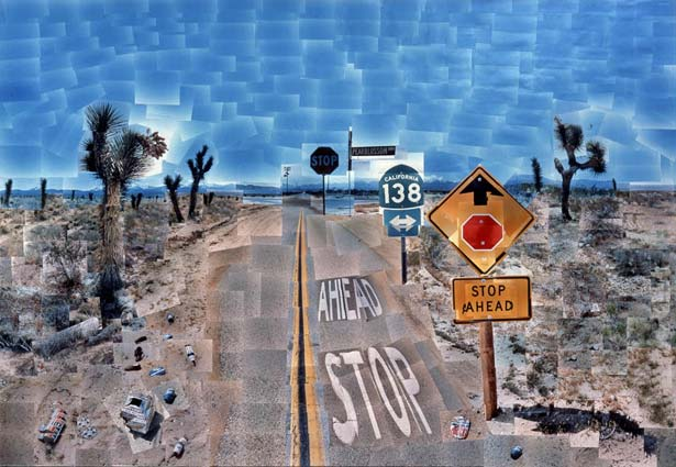 David Hockney, Pearblossom Highway, 11th-18th April 1986, photographic, 77x112 1/2 in.