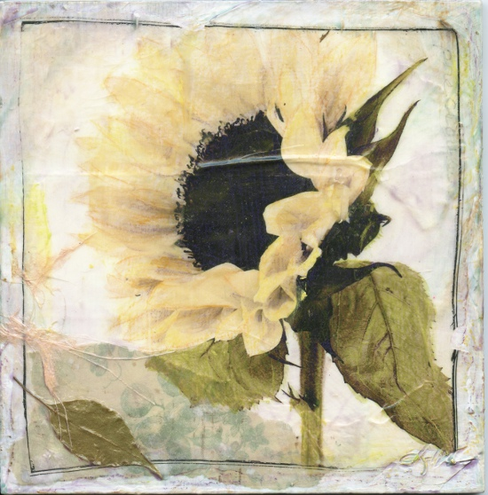 mixed media floral art by Judith Monroe