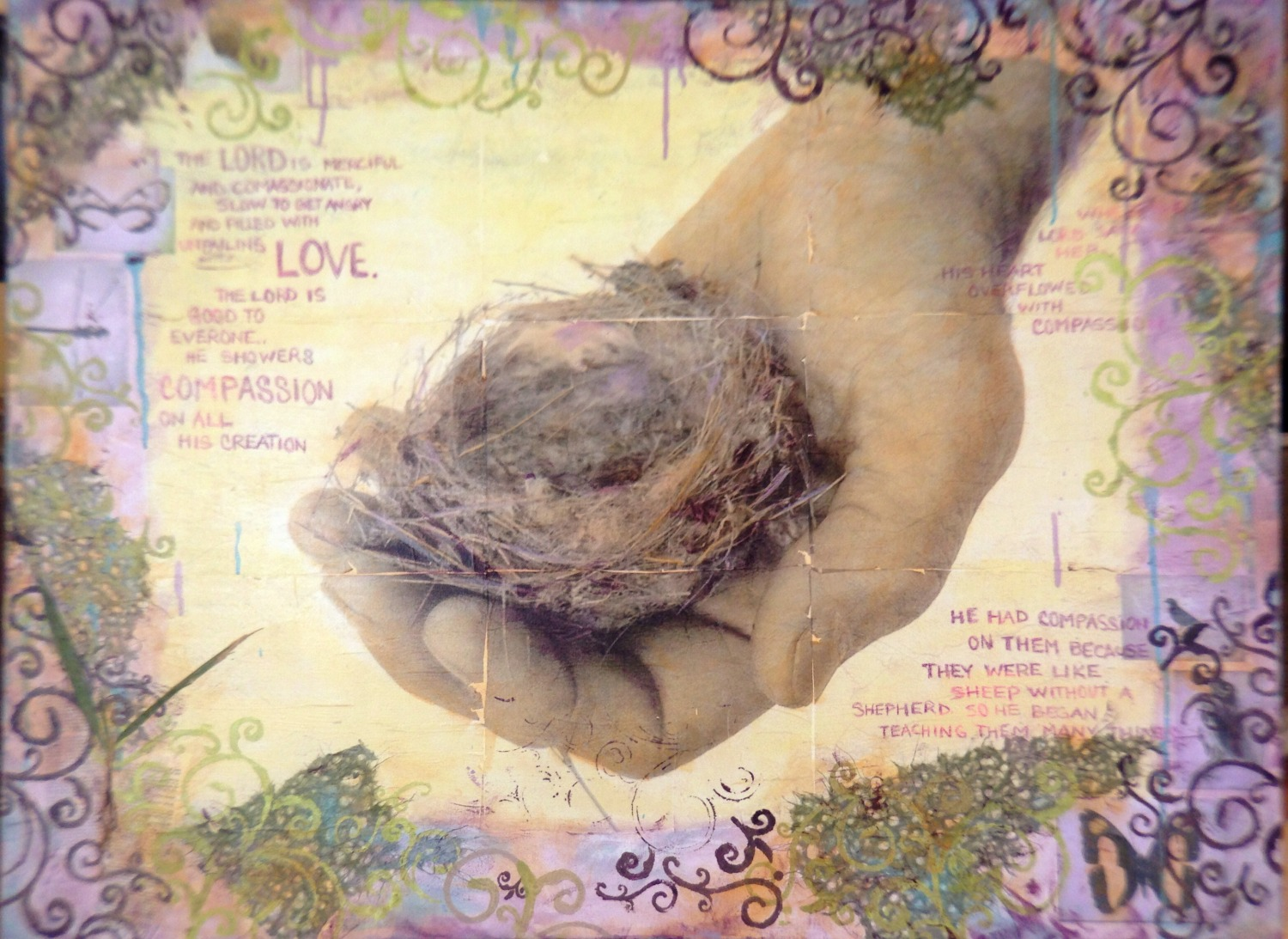 Compassion - photo transfers and mixed media on canvas by Judith Monroe