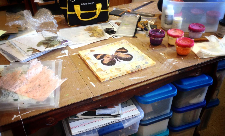 work in progress in Judith's art studio