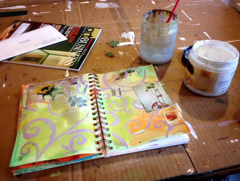art journal on worktable by Judith Monroe
