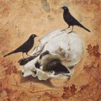 Two Birds mixed media artwork by Judith Monroe