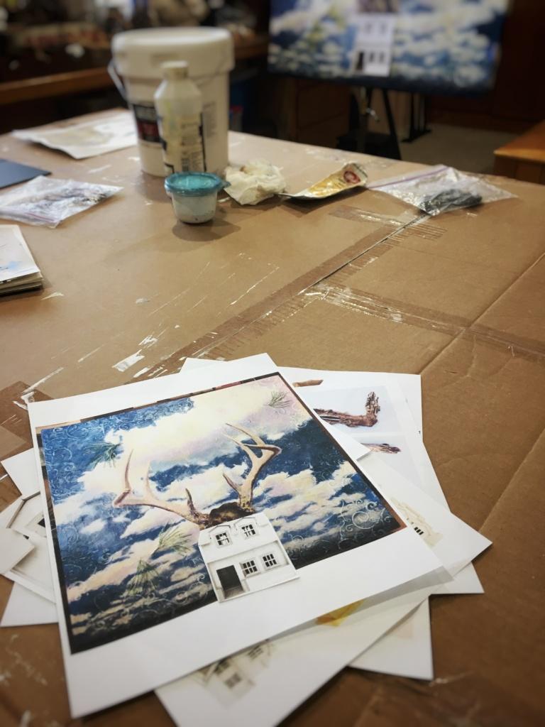 Work in progress in the art studio of Judith Monroe